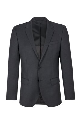 Slim-fit jacket in virgin-wool serge with AMF stitching, Dark Grey