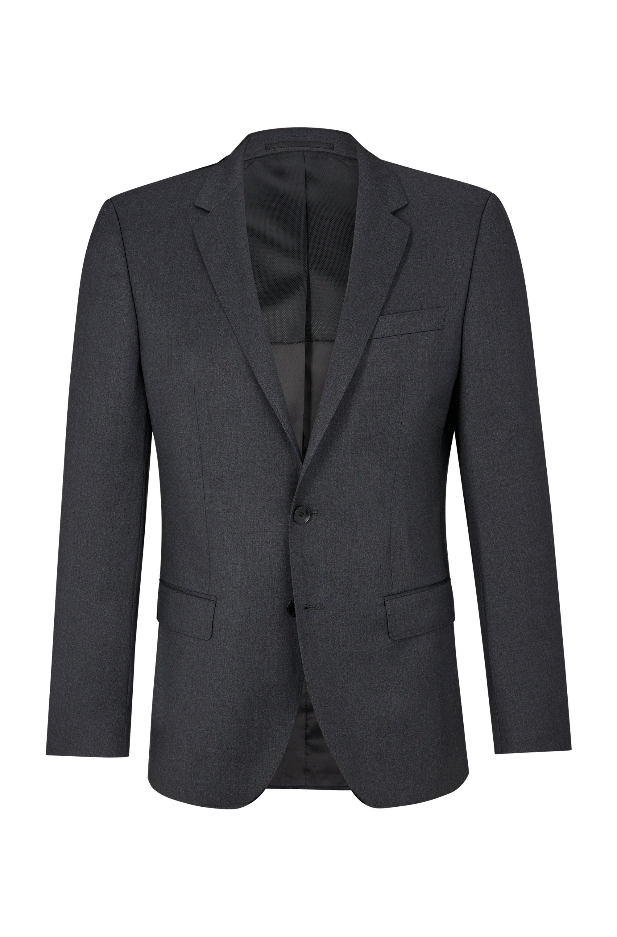 Giacca slim fit in serge di lana vergine con cuciture AMF, Grigio scuro