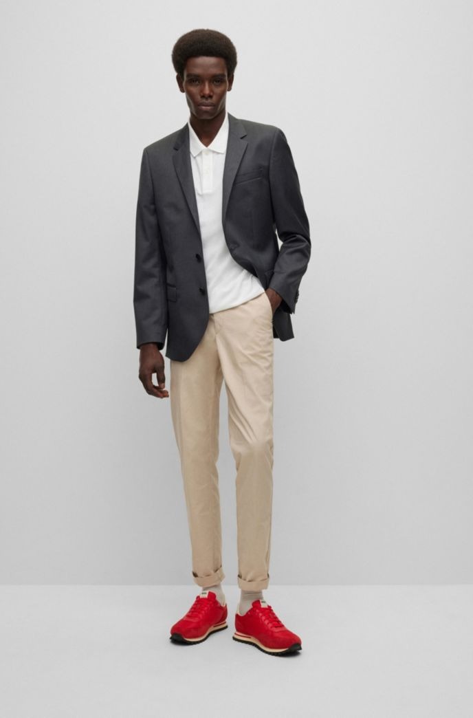 Slim-fit jacket in virgin-wool serge with AMF stitching