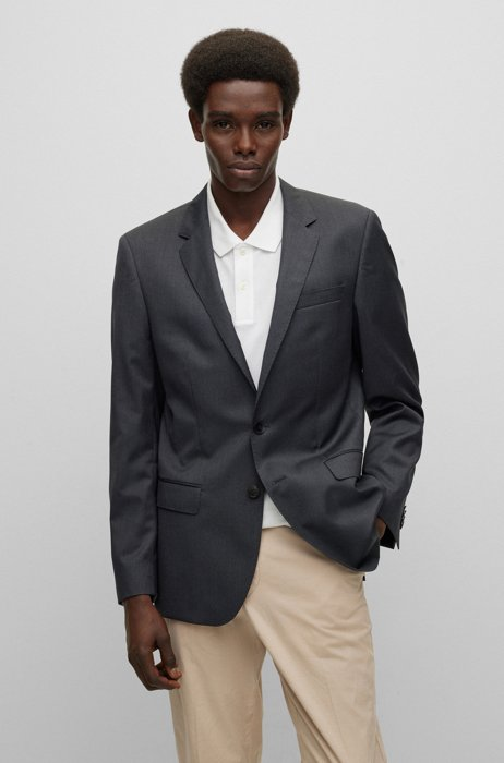 Slim-fit jacket in virgin-wool serge with AMF stitching, Dark Grey