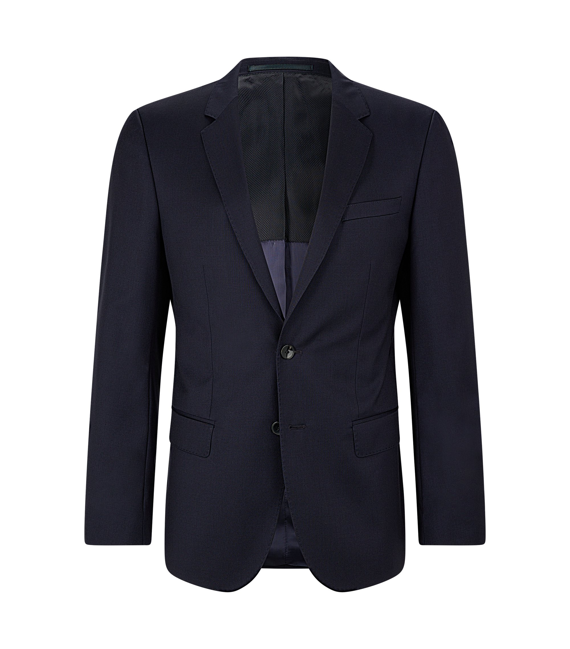 Slim-fit jacket in virgin wool, Dark Blue