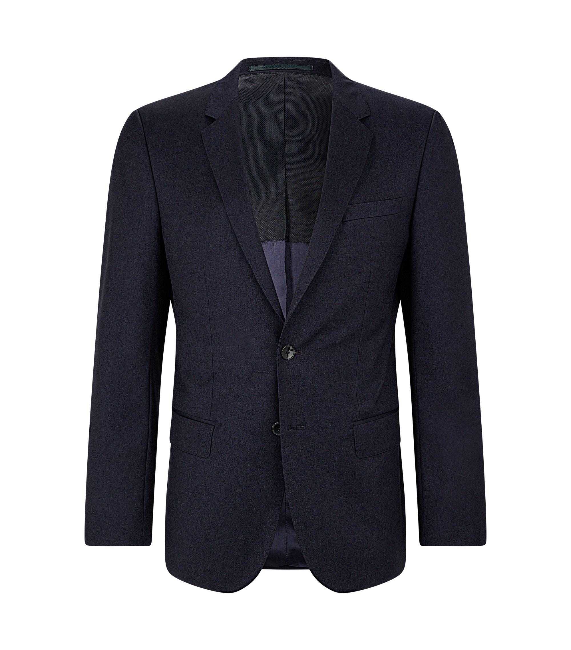 Giacca slim fit in lana vergine, Blu scuro