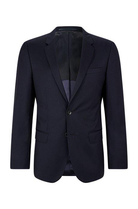 Chaqueta slim fit en sarga de lana virgen con costuras de imitación a mano, Azul oscuro