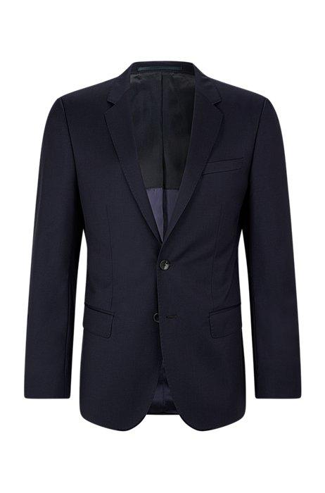 Slim-fit jacket in virgin-wool serge with AMF stitching, Dark Blue