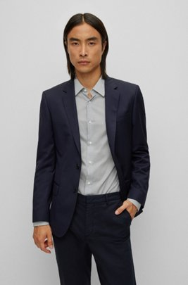 Slim-fit jacket in virgin-wool serge with AMF stitching, Dark Blue