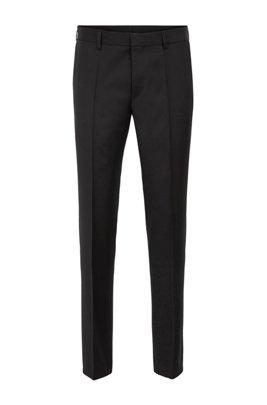 Pantalones slim fit en sarga de lana virgen, Negro