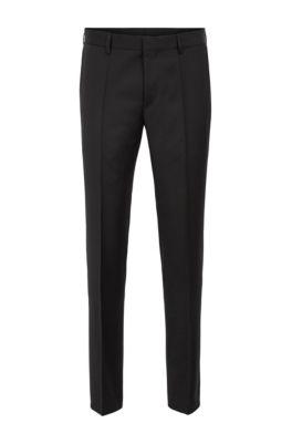 Pantalon Slim Fit en sergé de laine vierge, Noir