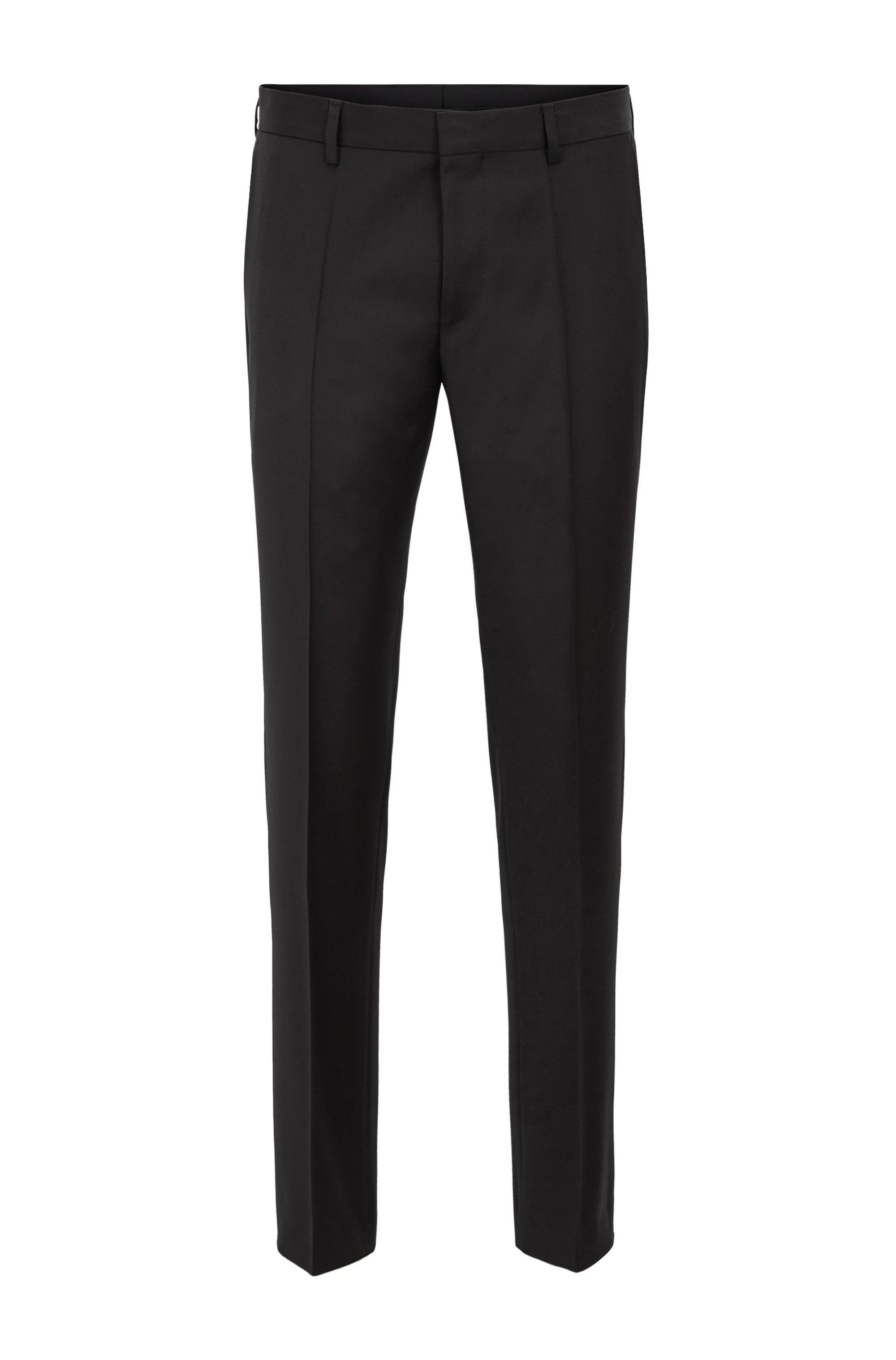 Slim-fit broek in een serge van scheerwol, Zwart