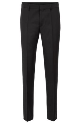 Pantaloni slim fit in pura lana vergine, Nero
