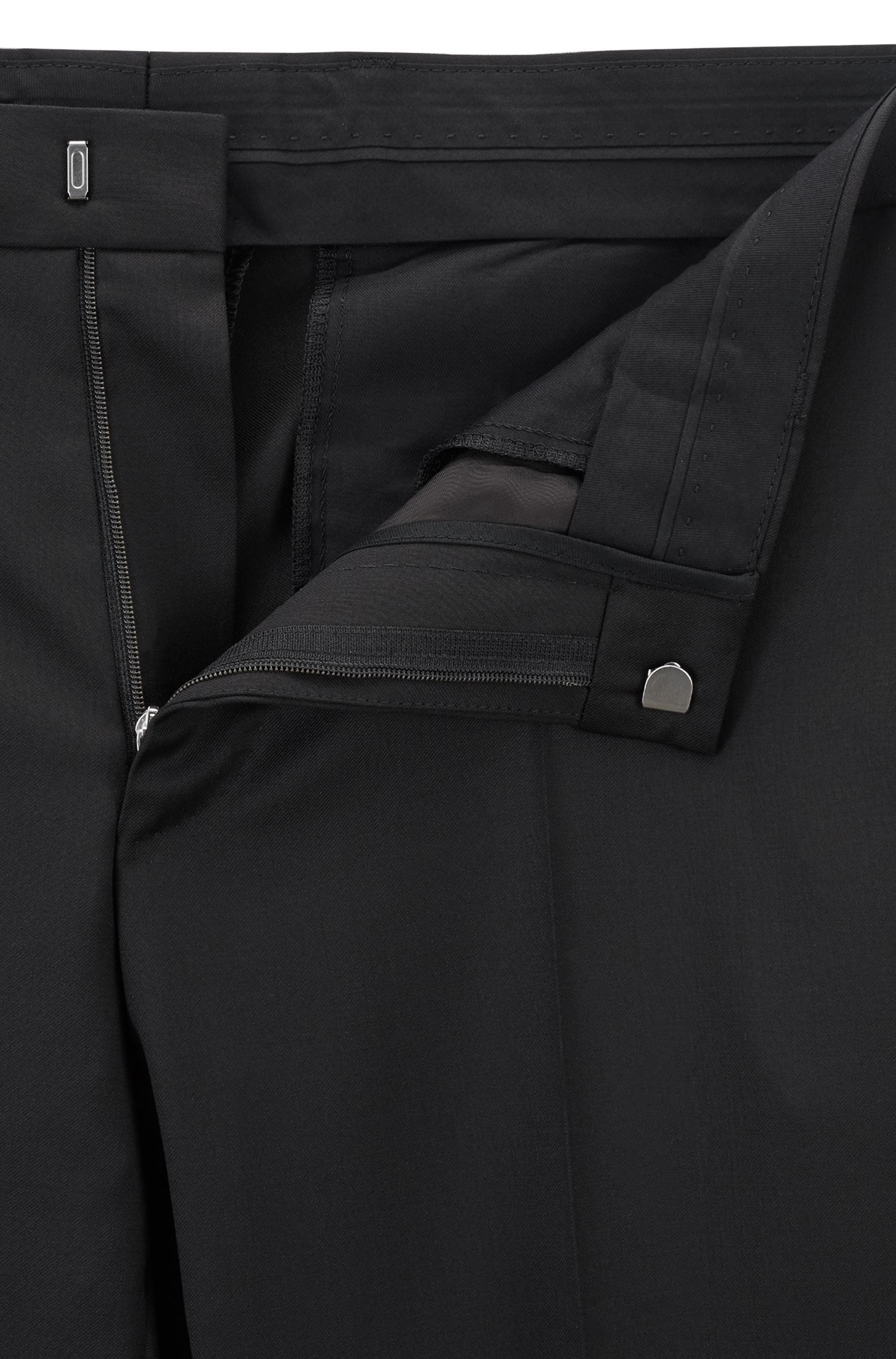 Slim-fit trousers in pure virgin wool, Black