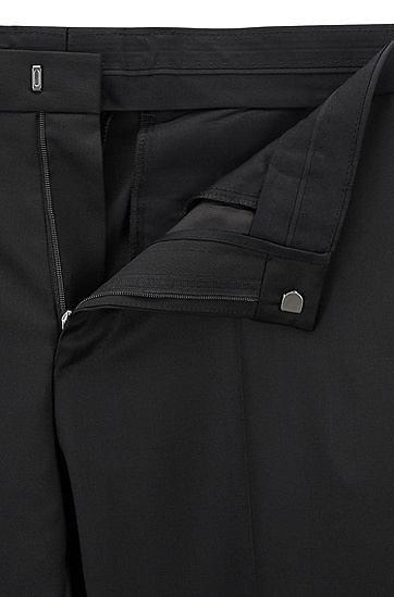 男士修身版羊毛长裤,  001_黑色