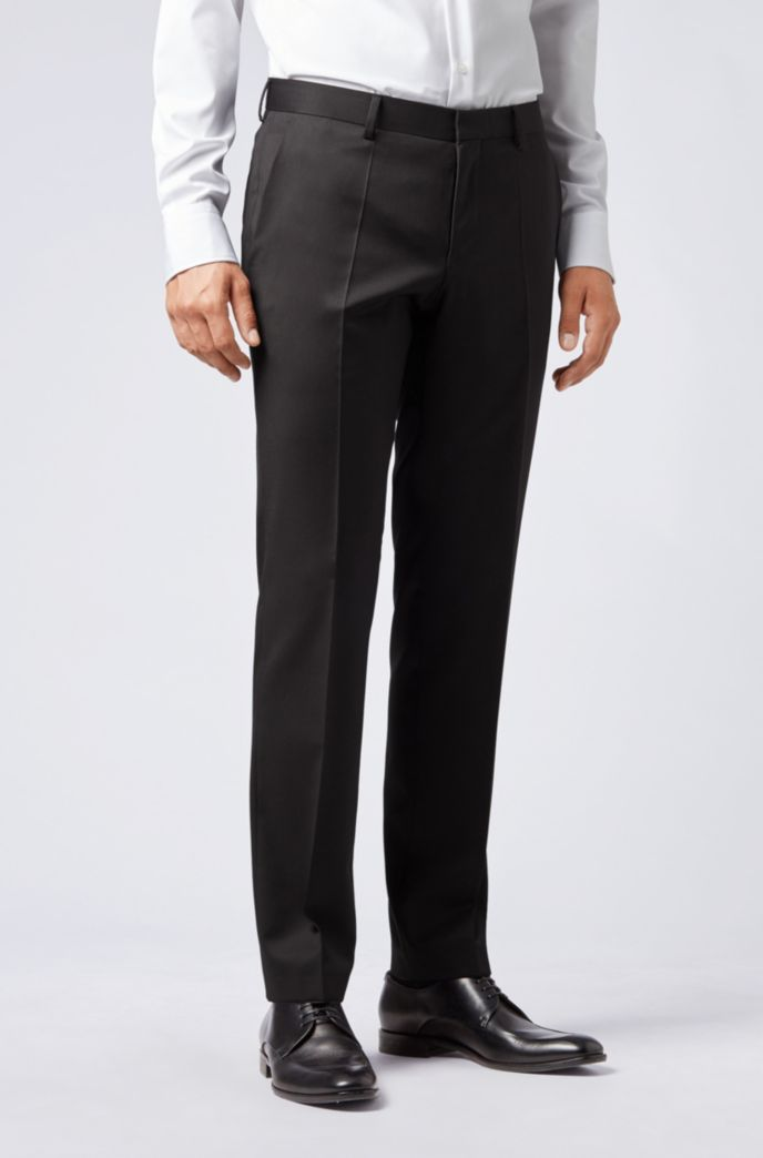 Pantaloni slim fit in serge di lana vergine