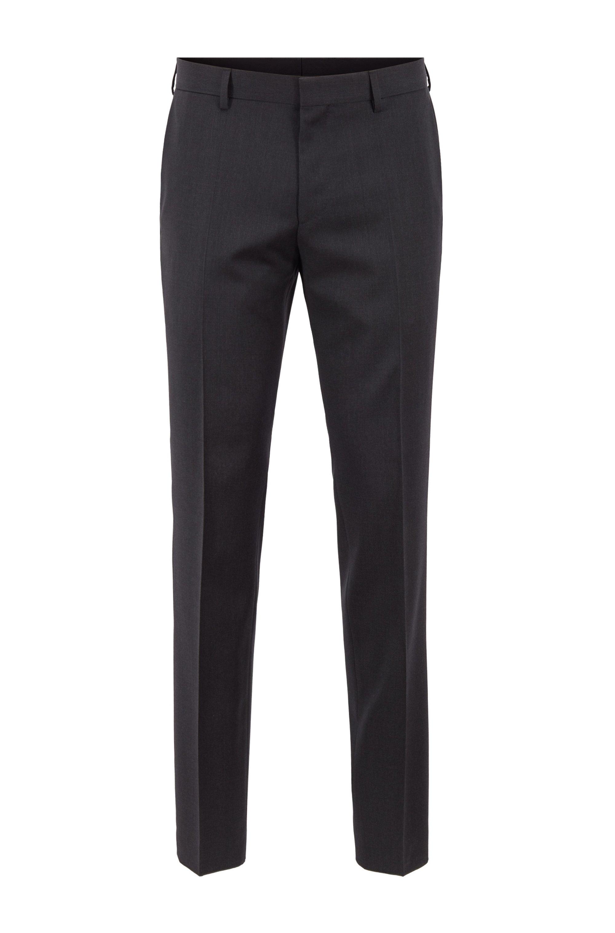 Pantalones slim fit en sarga de lana virgen, Gris oscuro