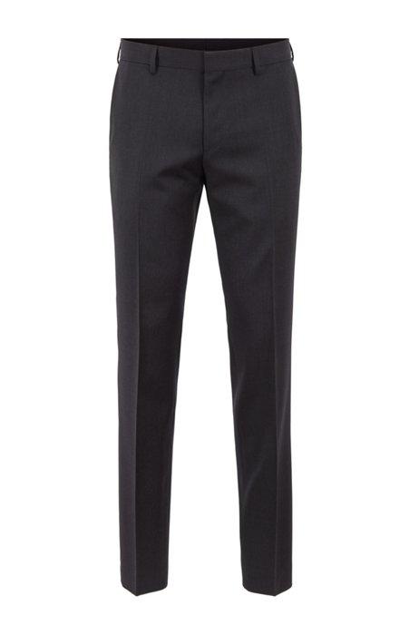 Slim-fit trousers in virgin-wool serge, Dark Grey