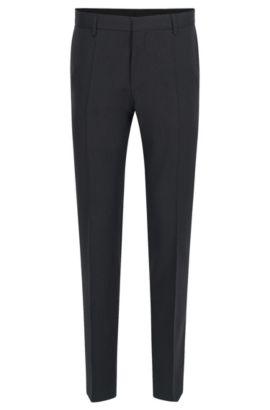 Slim-fit trousers in pure virgin wool, Dark Grey