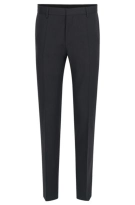Pantalón slim fit en pura lana virgen, Gris oscuro