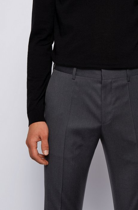 Slim-fit broek in een serge van scheerwol, Donkergrijs