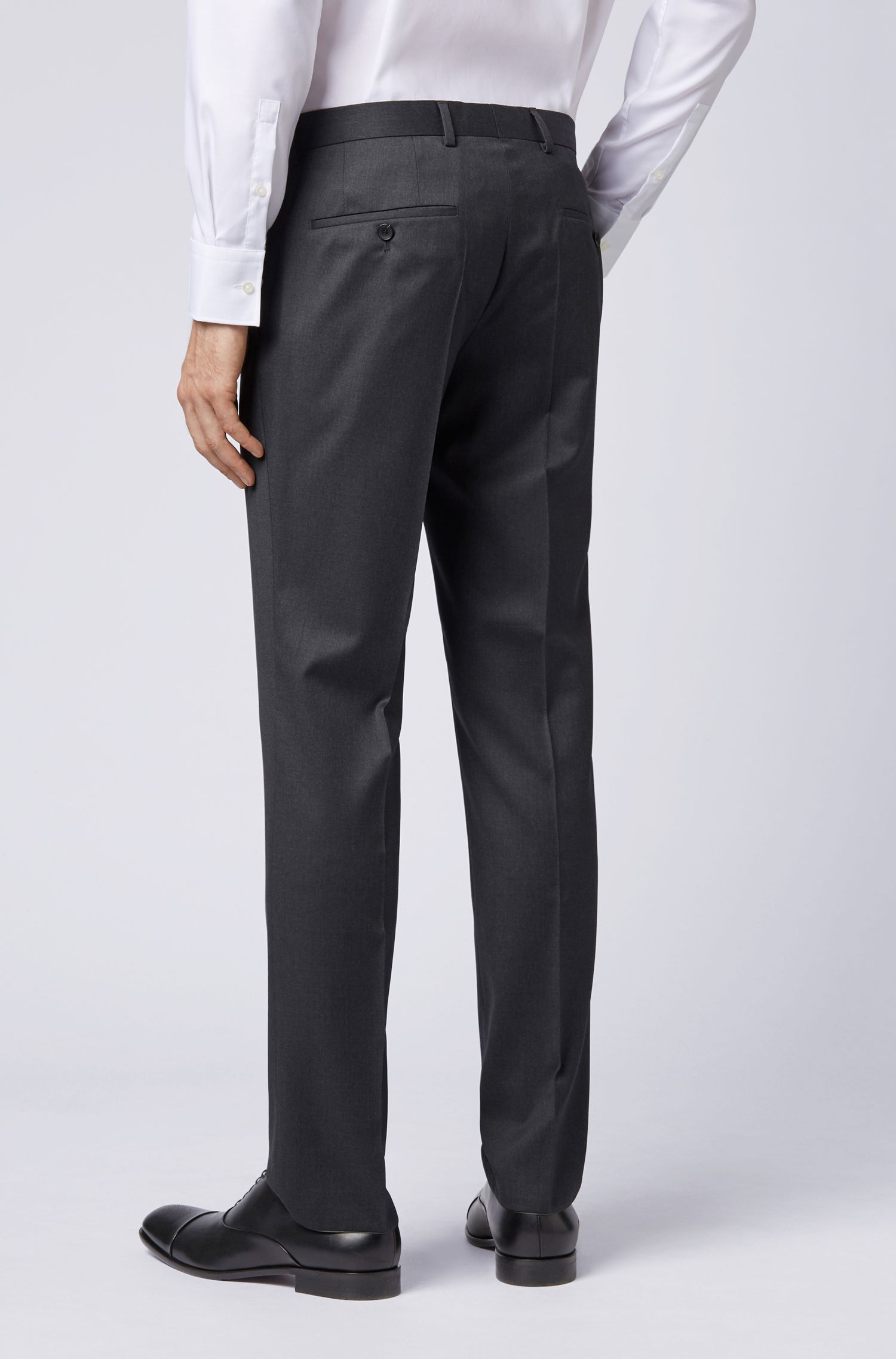 Slim-fit trousers in pure virgin wool, Dark Grey