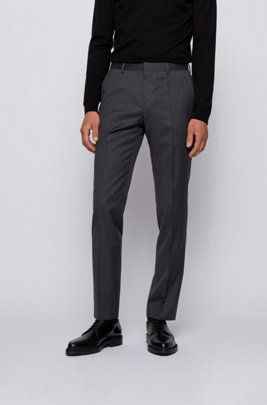 Slim-fit trousers in virgin-wool serge, Dark Grey