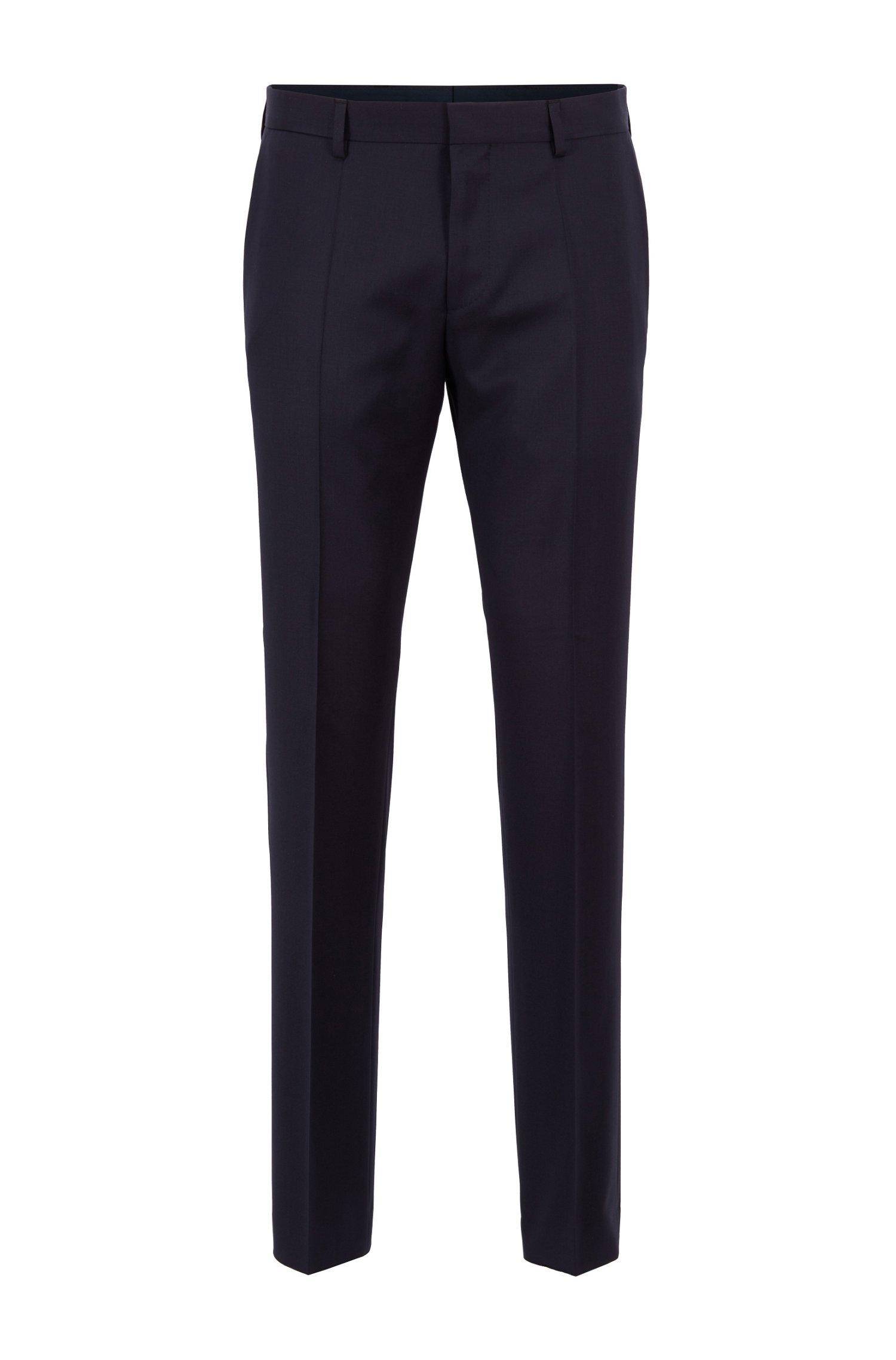 Slim-fit trousers in virgin-wool serge, Dark Blue