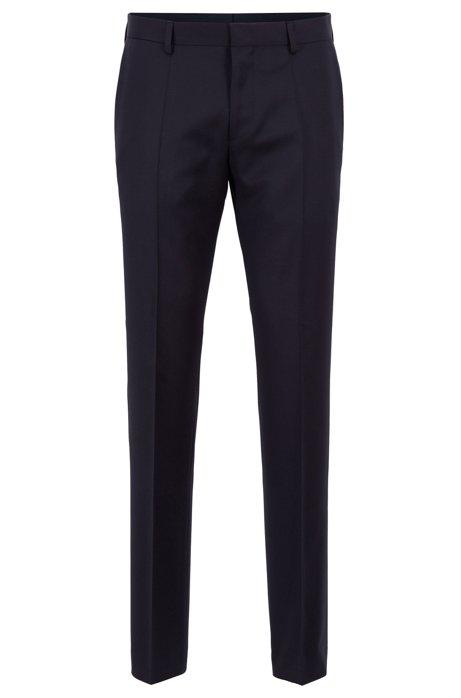 Slim-fit trousers in pure virgin wool, Dark Blue