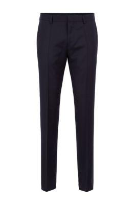 Pantalón slim fit en pura lana virgen, Azul oscuro