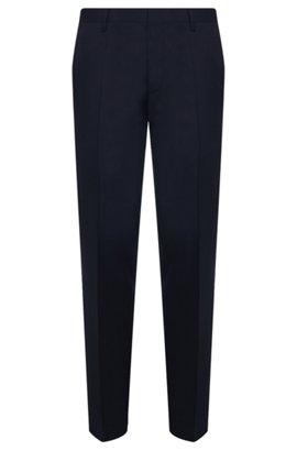 Pantalon Slim Fit en pure laine vierge, Bleu foncé