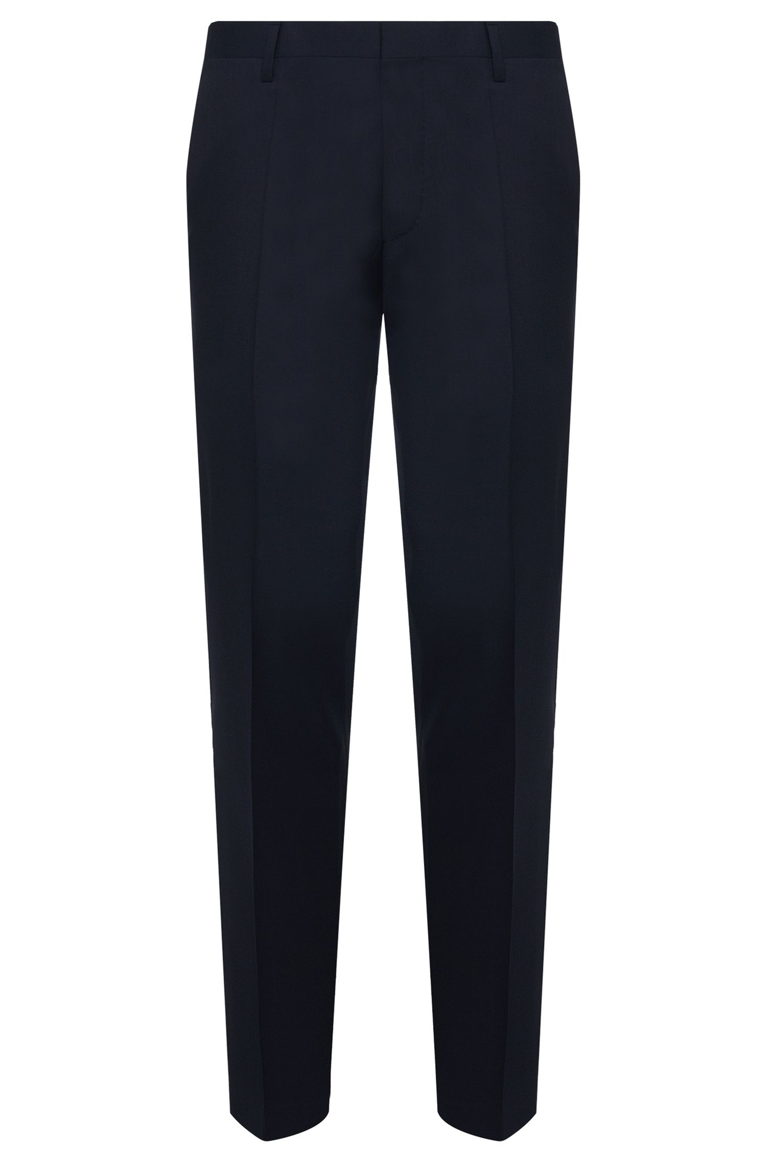 Pantaloni slim fit in pura lana vergine, Blu scuro