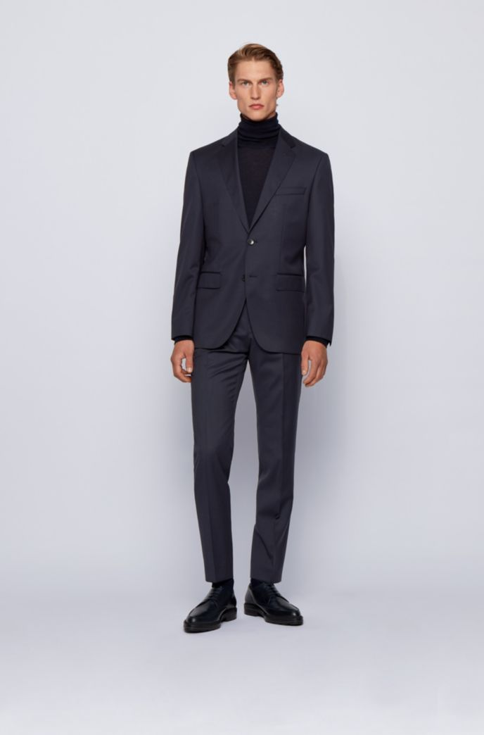 Pantalones slim fit en sarga de lana virgen