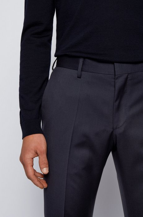 Slim-fit trousers in pure virgin wool, Dark Blue