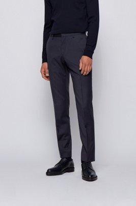 Slim-fit broek in een serge van scheerwol, Donkerblauw