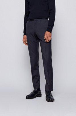 Pantalones slim fit en sarga de lana virgen, Azul oscuro