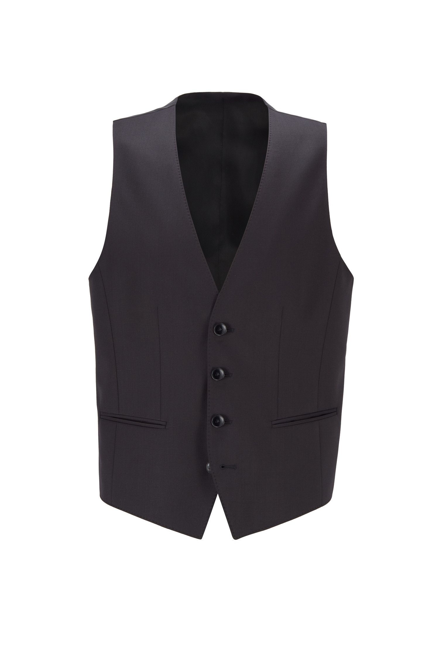 Slim-fit waistcoat in virgin wool with natural stretch, Black