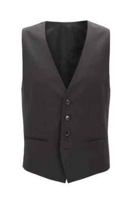 Gilet slim fit in lana vergine, Nero