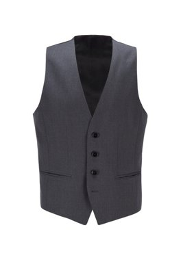 Slim-fit waistcoat in virgin wool with natural stretch, Dark Grey