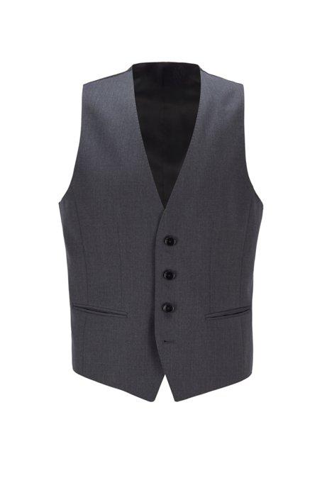 Gilet slim fit in lana vergine con elasticità naturale, Grigio scuro