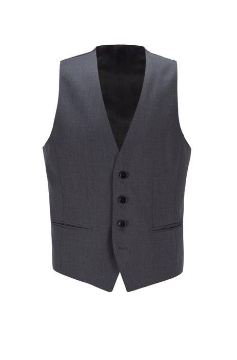 Slim-fit waistcoat in virgin wool with natural stretch, Dark Grey