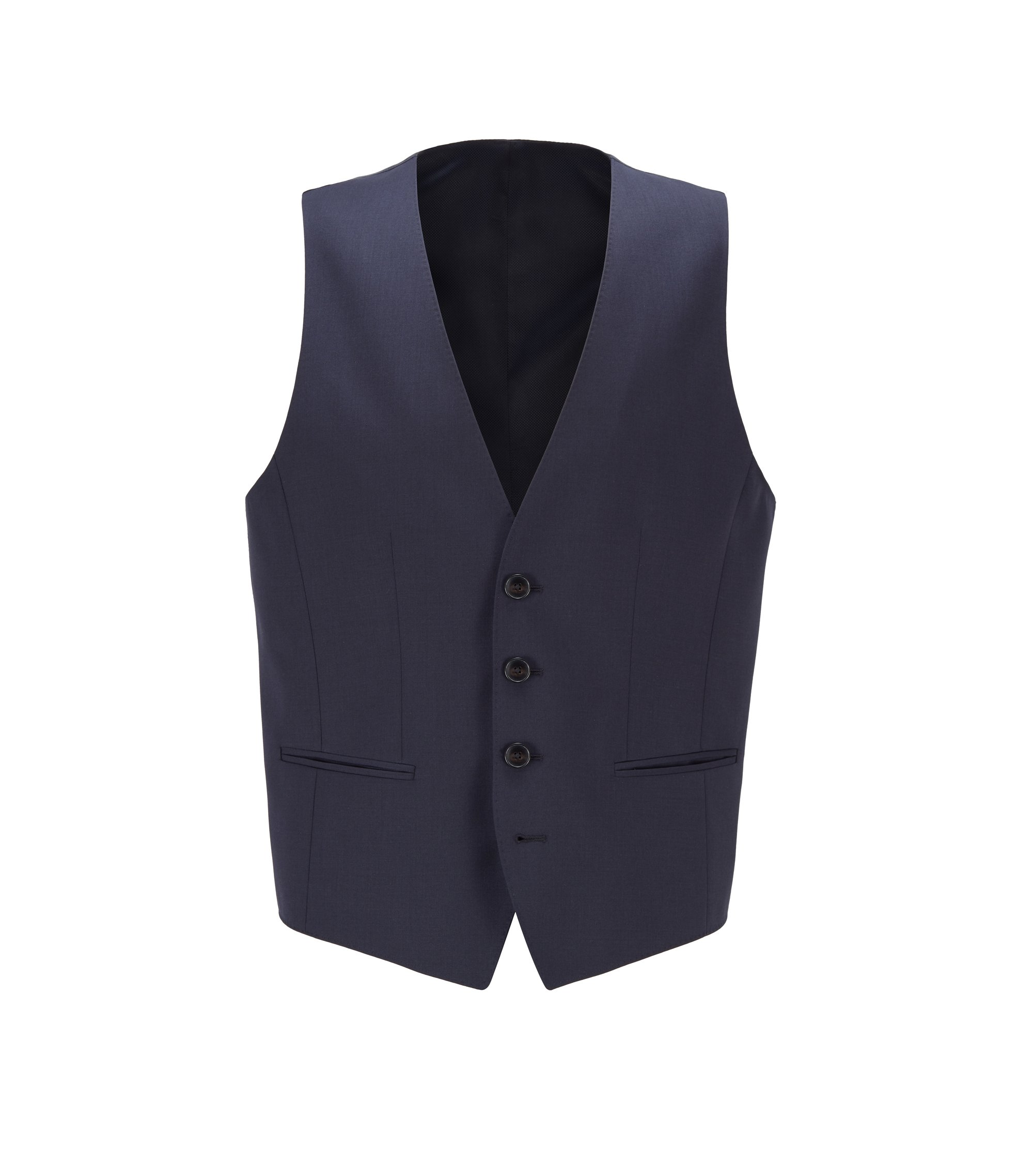 Gilet slim fit in lana vergine, Blu scuro
