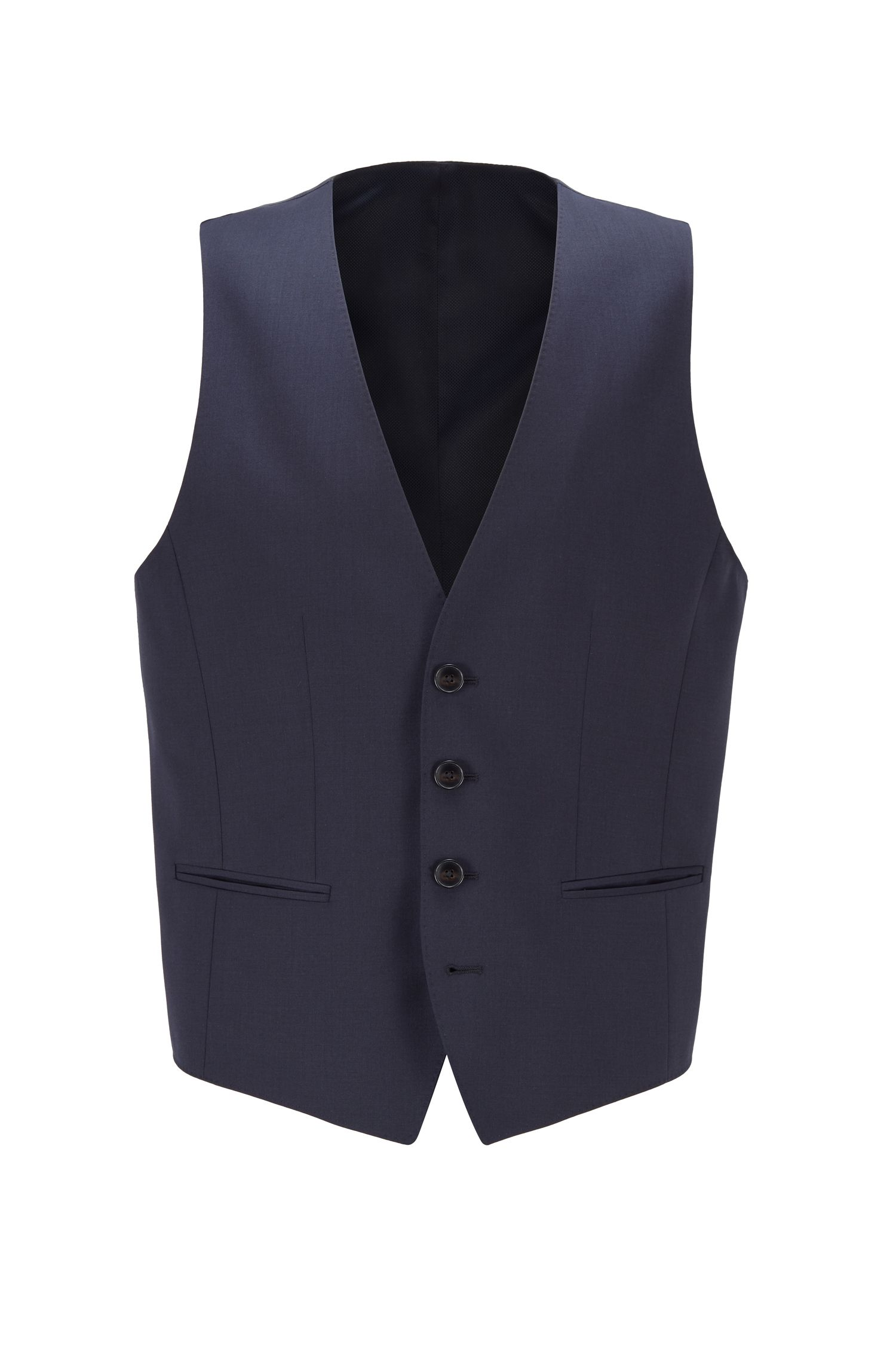 Gilet slim fit in lana vergine, Blu scuro