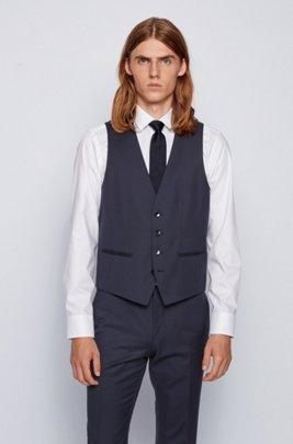 Slim-fit waistcoat in virgin wool with natural stretch, Dark Blue