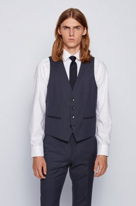 Slim-fit waistcoat in virgin wool with natural stretch, Dark Blue