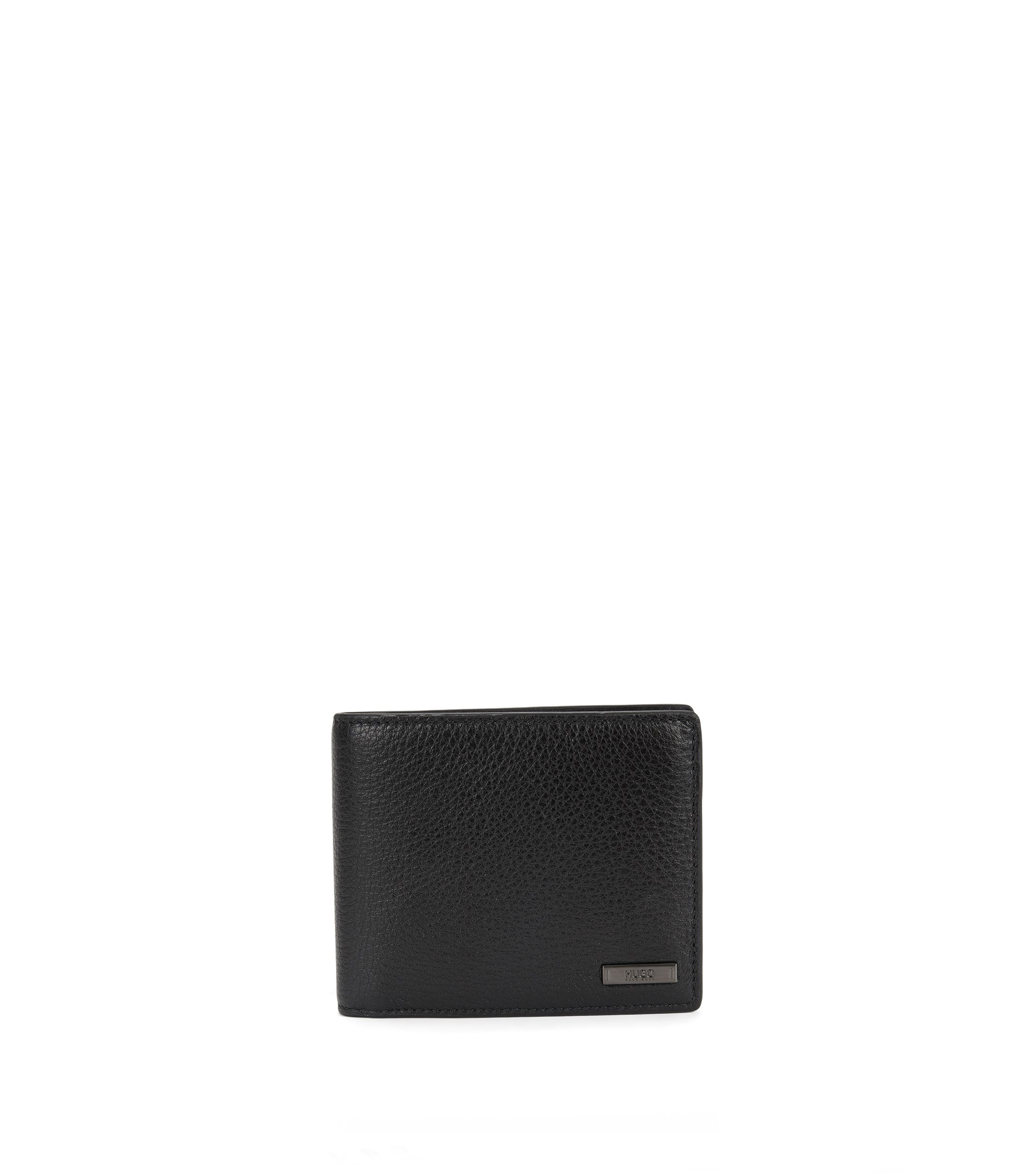 Trifold wallet in naturally grained leather, Black