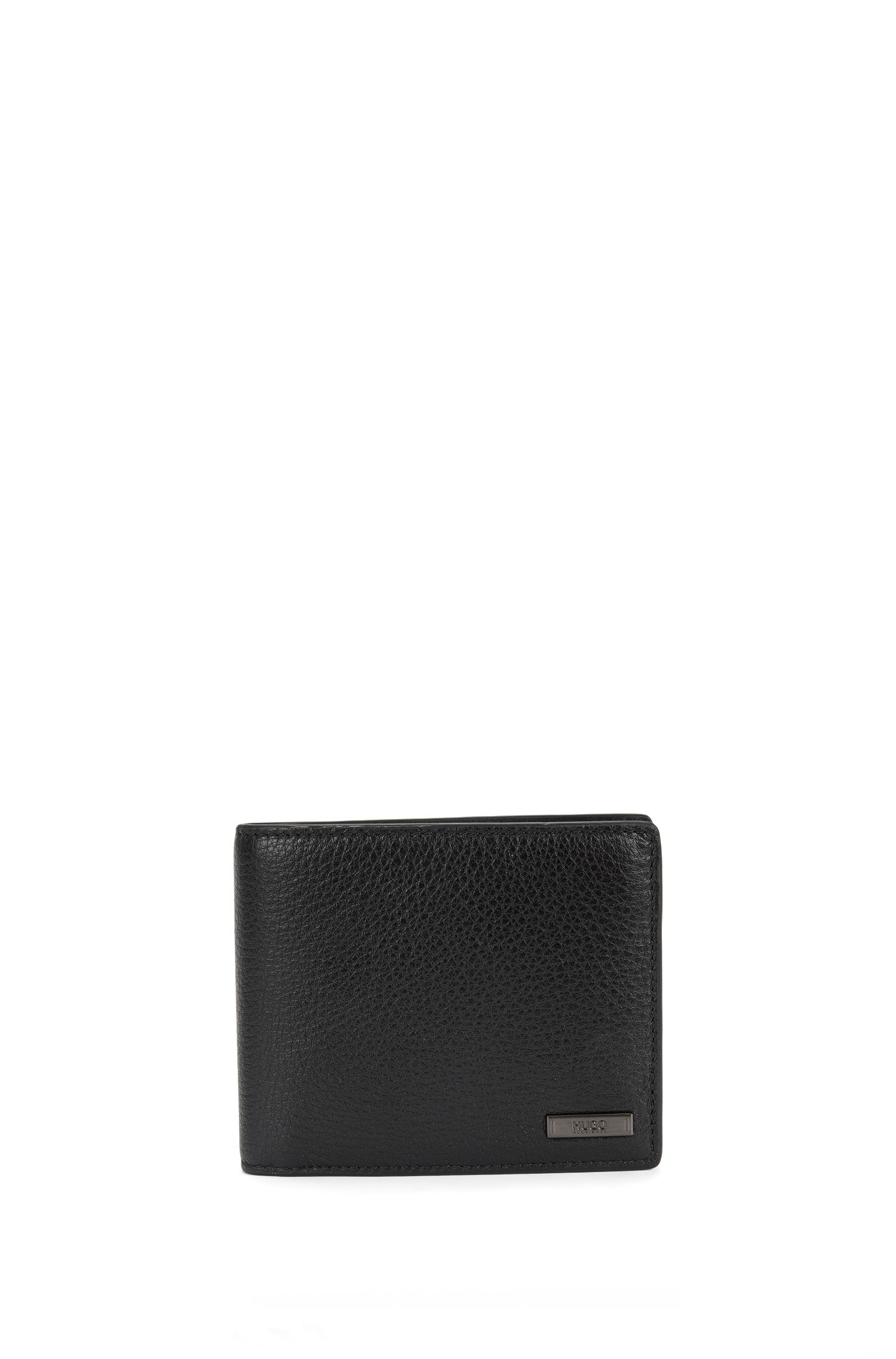 Trifold wallet in naturally grained leather