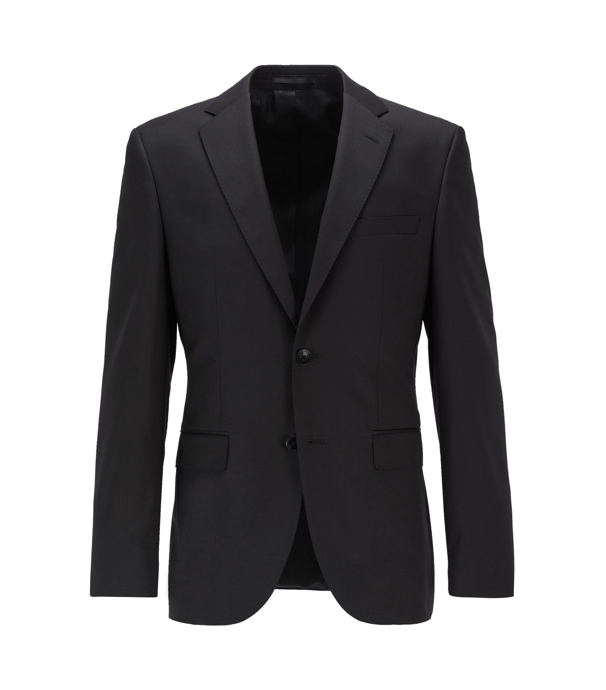 Giacca regular fit in lana vergine con cuciture AMF, Nero