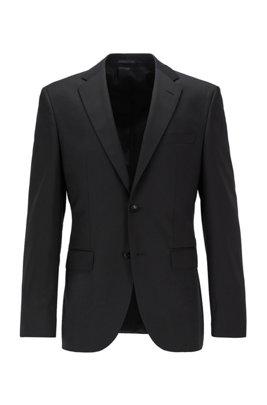 Chaqueta regular fit en sarga de lana virgen con costuras de imitación a mano, Negro