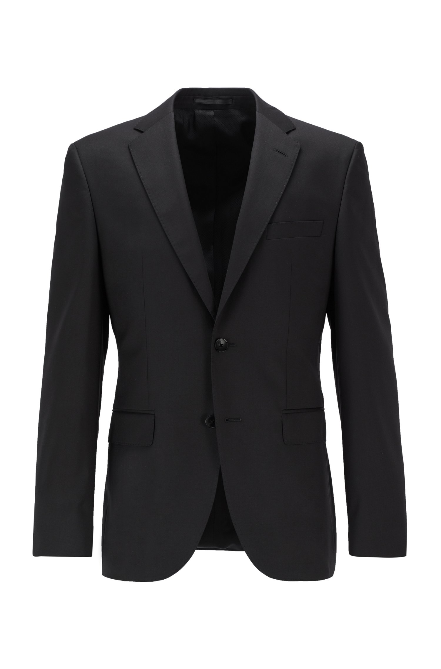 Regular-fit jacket in virgin-wool serge with AMF stitching, Black