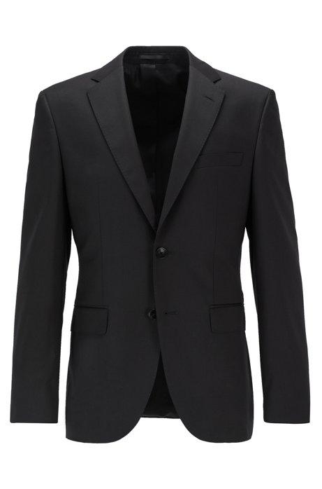 Veste de costume Regular Fit en laine vierge, ornée de surpiqûres AMF effet cousu main, Noir