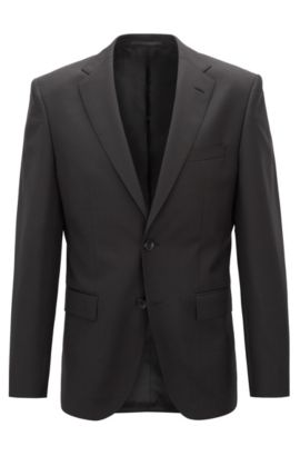 Regular-fit virgin wool jacket with AMF stitching, Black
