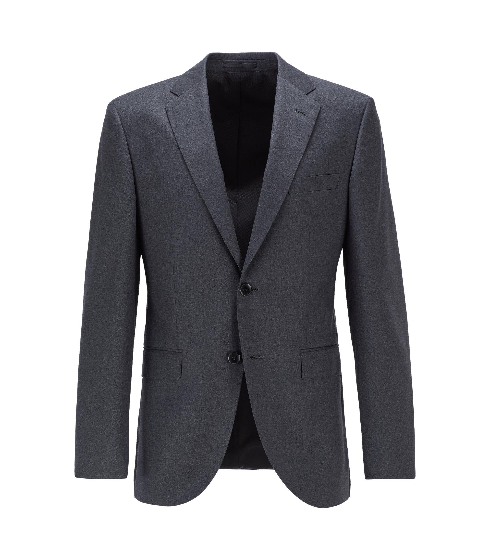 Giacca regular fit in lana vergine con cuciture AMF, Grigio scuro