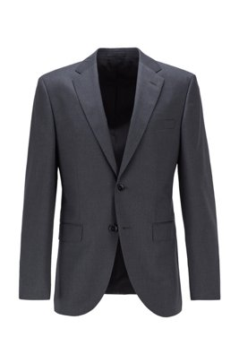 Regular-fit jacket in virgin-wool serge with AMF stitching, Dark Grey